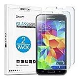 [2 Stück] OMOTON Panzerglas Bildschirmschutzfolie für Samsung Galaxy S5, Anti-Kratzen, Anti-Öl, Anti-Bläschen, lebenslange Garantie