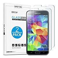 [2 Stück] OMOTON Panzerglas Displayschutzfolie für Samsung Galaxy S5, Anti-Kratzen, Anti-Öl, Anti-Bläschen,2.5D