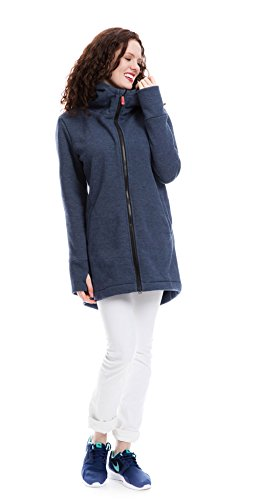 GoFuture Damen Tragejacke für Mama und Baby 4in1 Känguru Jacke Umstandsjacke Ovita GF2174XB2 Jeansblau mit marineweißen Streifen Gr. 36