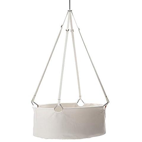 Leander hängende Babywiege aus Baumwolle, Baby-Kokon geeignet für Babys ab der Geburt bis ca. 10kg, liebevolles kinderfreundliches Design in weiß vereint hohe Funktionalität und Sicherheit
