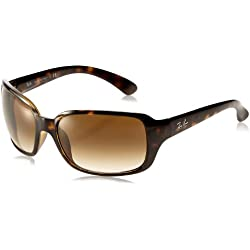 Ray-Ban Women's RB4068 Rectangular Sunglasses, Brown (710/51 Light Havana)