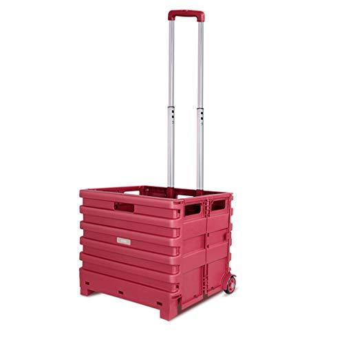 YC electronics Einkaufstrolleys Leichtgewichtler 2 Rad-Kapazitäts-Käufer-Gepäckwagen, Faltbarer tragbarer Einkaufswagen-Laufkatzen-Auto-Haushalts-Einkaufslaufkatze Einkaufskörbe -