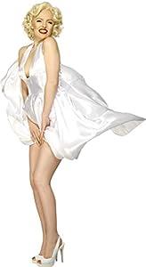 Smiffys-27428L Licenciado Oficialmente Disfraz Classic de Marilyn Monroe, con Vestido sin Espalda, Color Blanco, L - EU Tamaño 44-46 (SM27428-L-ALT)