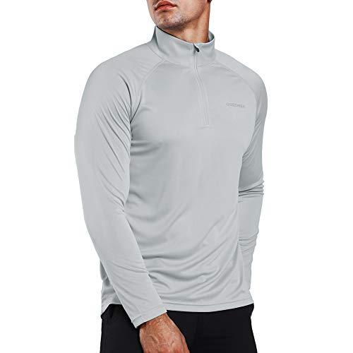 Ogeenier Herren UPF 50+ UV Sonnenschutz 1/4 Zip Langarmshirt Performance Langarm T-Shirt -