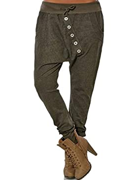 Juqilu Harem Pantalones para Mujeres Moda Color Sólido Loose Pantalones CasualPantalones Deporte Yoga Tallas Grandes...