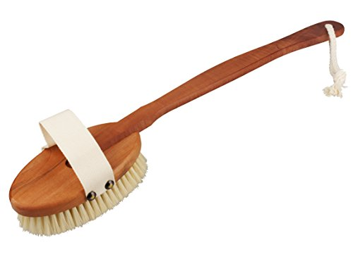 Premium Bath Brush from pear wood long handled Bümag – Luxury Wooden curved back brush with detachable head and Bleached Natural Bristles – Perfect for a gentle skin cleanser, Dry Massage and Gentle Peeling – Take Care Of Yourself Today a Premium Shower Brush and a real eye-catcher for your Bathroom