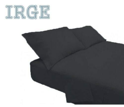 Irge lenzuola cotone puro 100% matrimoniale tinta unita sotto sopra 2 federe vari colori (nero)