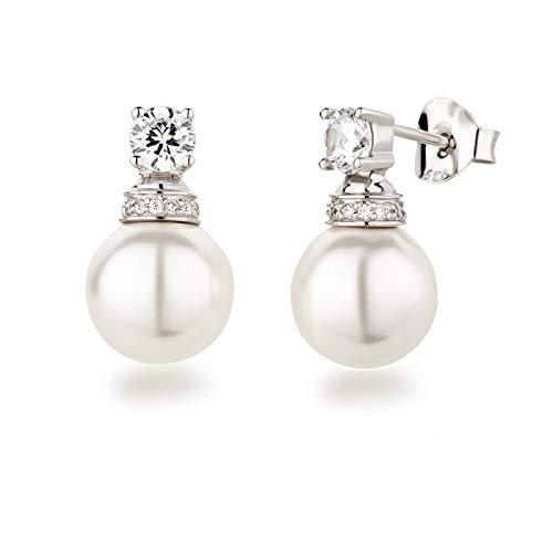 Schöner-SD orecchini in argento 925 con zirconi e perle 10 mm di Swarovski e Argento, colore: bianco, cod. Co-OS-Ku10-ww