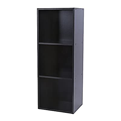 3 Tier Wooden Bookcase Cube Shelving Display Storage Wood Book Shelves (Black) - inexpensive UK light shop.