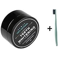 Li_unmio Polvo de blanqueamiento de carbón de bambú natural 30g * 1 + cepillo de dientes * 1
