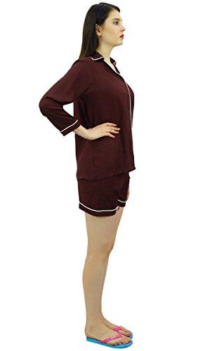 Bimba camicia bottone giù con elastico in vita Pantaloncini 2 pezzi pieni manica notte indossare insieme Marrone