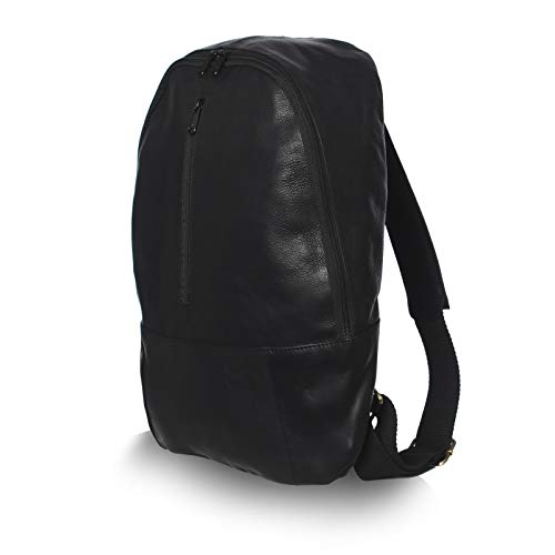 NAMA 'John' Daypack Rucksack Büffel Leder Tagesrucksack Lederrucksack für Damen und Herren Vintage Laptoprucksack Backpack Wanderrucksack Naturleder Schwarz