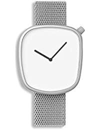 Bulbul Pebble Unisex Quartz Watch with White Dial Analogue Display and Silver Stainless Steel Bracelet P06