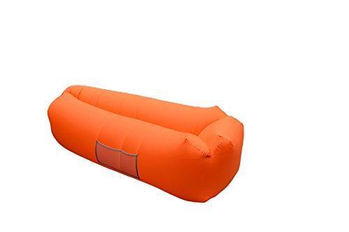 Elegante aufblasbare Liege für den Außenbereich, tragbar, faltbar, für den Strand, Luftstuhl, Bett, Schlafsack, Orange