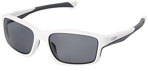 Oakley Unisex Chainlink Rechteckig Sonnenbrille, Matte White/Grey Polarized (S3)