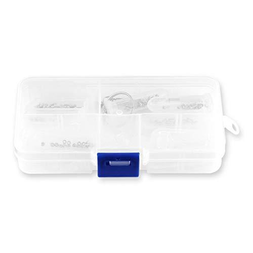 Beliebte Brillenreparaturwerkzeug Sortiment Set Optische Uhr Schraubendreher Schrauben Muttern Nasenpads mit Box für Brillenzubehör - Silber, Klar