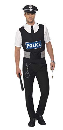 SMIFFYS Kit istantaneo da poliziotto, con abito, finta camicia, cappello e manette
