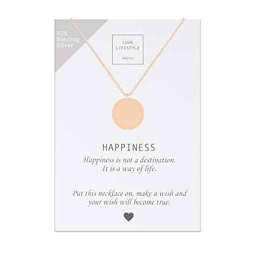 LUUK LIFESTYLE Sterling Silber 925 Halskette mit Plättchen Anhänger und Happiness Spruchkarte, Glücksbringer, Damen Schmuck, rosè