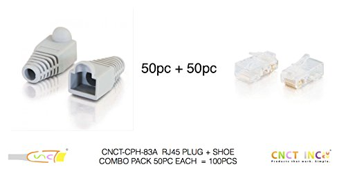 CNCT Grey RJ-45 Boots (50 pcs) - Strain Relief Boots to protect RJ45 Clips - For use in Network Patch Cables - Suitable for upto 23 AWG UTP wires from Systimax - Amp - Dlink - Digilink - Belkin - Digisol - Belden - Molex - Polycab - Finolex - MX
