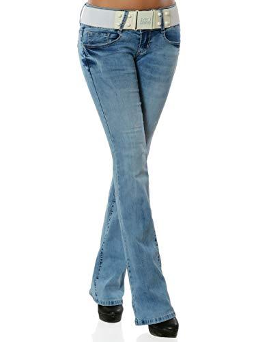 Damen Boot-Cut Jeans Hose mit Gürtel DA 16002 Farbe Blau Größe S (Herstellergröße 36)