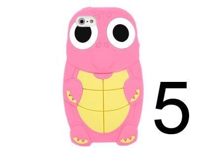 Schildkröte 5 Light (iXium® Light Pink stylische SILIKON 3D Cute Schildkröte Krokodil Eidechse Dinosaurier Spielzeug Tier Silikon Hülle Case Cover Gel Skin für iPhone 5)