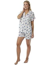 Indigo Sky Women s Popcorn Design Button Front Shorts Pyjamas f214f60bb
