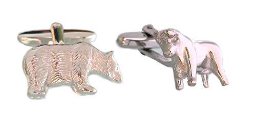 Unbekannt Bulle Bär Manschettenknöpfe Börsen Symbol silbern fein hochwertig gearbeitet! m.i. Germany + Silberbox