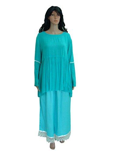 Angel Sleeve Peplum Top And Palazzo Ethnic Suits Set – Scoop Neck, Asymmetrical Hemline, Pleated Teal Blue Top...