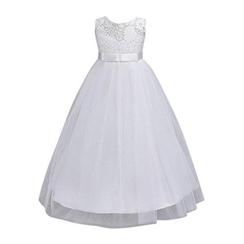 d Festlich Kleid Brautjungfern Kleid Hochzeit Partykleid mit Spitze Tüll Festzug Kinderkleidung Kinder Kleid Prinzessin Abendkleid Maxikleid Cocktailkleid (White, 110-120CM 5Jahre) (White Kinder-kleider)