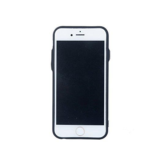 EKINHUI Case Cover Rattan-Blumen-geprägte Muster-Plastik PC-harte rückseitige Abdeckung Schlankes, Anti-Kratzer-Ganzkörper-schützender Fall für IPhone 6 u. 6s Plus ( Color : Gold ) Black