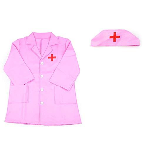 Biback Kinder Cosplay Kostüme Doktor Krankenschwester Rollenspiel Kleidung für Kinder Rosa - Rosa Krankenschwester Kostüm