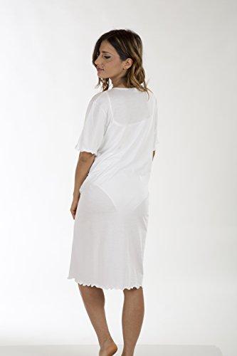 Premamy - Damen Stillnachthemd - Farbe: Weiß Weiß