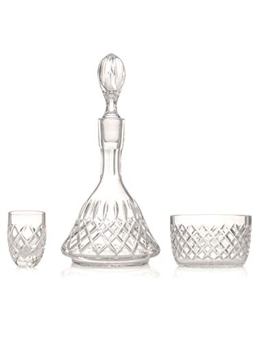 Crystal Drinkware Set with 6x Shot Glasses (60 ml), 1 x Crystal Bowl, 1 x Decanter, Set of 8. Hand Made and Cut. Gift Box.
