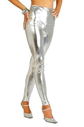 FUTURO FASHION Sexy Brillant Mat Full Leg Leggings Taille Haute Latex Imitation Cuir 36, Argenté