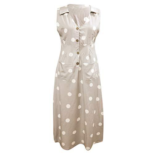 VJGOAL Kleider Damen Sommer Elegant Grosse Grössen V-Kragen Mode Wellenpunkt Drucken Knopf Party Dresses for Women(Khaki,S)