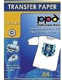 A4 Inkjet Iron On T Shirt Transfer paper-Budget - Light T Shirt x 40 Sheets