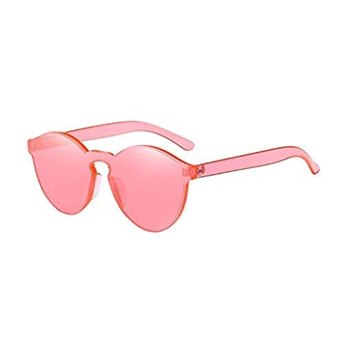 WooCo Cat Eye Sonnenbrillen für Damen, heißer Verkauf Fashion Integrated Eyewear UV-Bonbonfarbene Brille Lila, Wassermelone Rot, Blau, Weiß, Kaffee, Rot, Schwarz, Gelb, Grün(Watermelon Rot,One size)