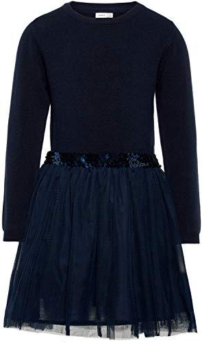 NAME IT Mädchen Kleid NKFRALUKKA LS Knit Dress, Blau (Dark Sapphire), 164