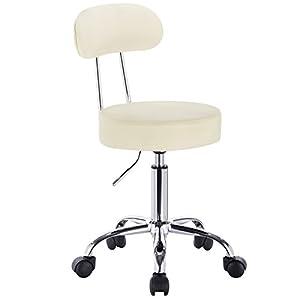 WOLTU® 1 Stück Arbeitshocker Drehhocker Rollhocker Drehstuhl Hokcer Bürostuhl mit Lehne höhenverstellbar Braun BH34br-1