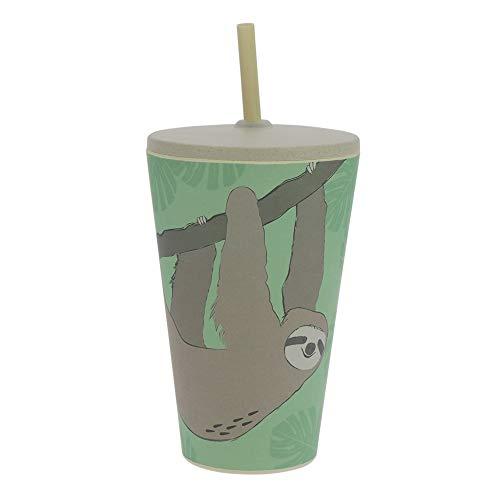 ebos Smoothie-to-Go-Becher aus Bambus, mit Deckel und Strohhalm | wiederverwendbar, natürliche Materialien, umweltfreundlich, lebensmittelecht, spülmaschinengeeignet, Verschiedene Designs (Faultier)