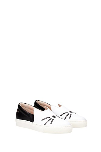 61KW4005BLACKWHITE Karl Lagerfeld Pantoufle Femme Cuir Blanc Blanc