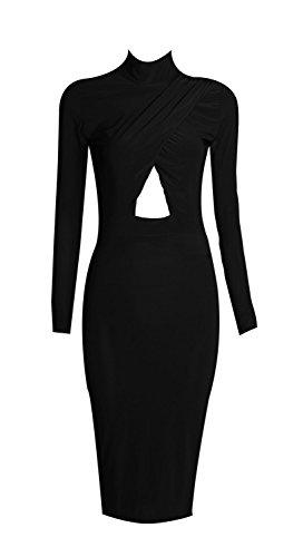 Fast Fashion Damen Midikleid Promi Inspirierten Langen Ärmeln Plain Polo Neck Schlüsselloch Figurbetontes