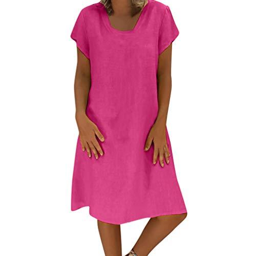 ShaDiao Sommerkleid Leinen Kleider Damen V-Ausschnitt Strandkleider Einfarbig A-Linie Kleid Boho Knielang Kleid Ohne Zubehör cocktailkleider