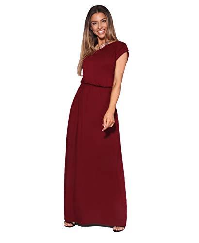 KRISP 3269-WIN-18 Damen Leichtes Kleid (Weinrot, Gr.46)
