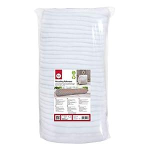 Rayher 3315400 Recycling Füllwatte in Lagen, weiß, Beutel 1 kg, 100% Polyester, waschbar, allergieneutral, veganes Füllmaterial