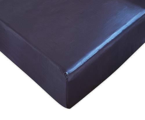 DuShow Spannbetttuch - Tiefe Taschen Satin Seide, atmungsaktiv, weich und bequem, knitterfrei, verblasst, Flecken- und Abriebfest, Seide, Marineblau, Einzelbett -