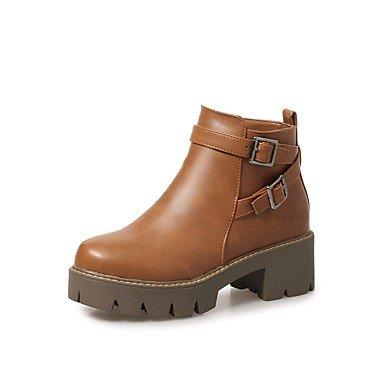 Wuyulunbi@ Scarpe Donna Autunno Inverno Comfort Stivali Chunky Tallone Punta Tonda Fibbia Zipper Per Ufficio Outdoor & Carriera Marrone Nero Grigio US6 / EU36 / UK4 / CN36