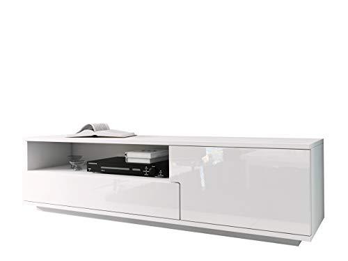 Mirjan24 TV Board mit Grifflose Öffnen, Laminatplatte/MDF, Weiß Hochglanz, 144 x 10 x 43 cm - Media Schränke Mit Türen