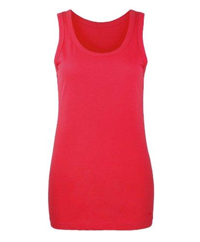 RageIT - Débardeur Coupe Mince Coton Uni Basique Femmes Rouge