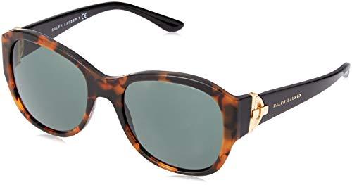 Ralph Lauren Damen 0Rl8148 501071 55 Sonnenbrille, Schwarz (Topo Tortoise On Black/Green),
